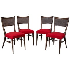 Set of Four Dining Chairs in Red Fabric by Paul McCobb for Directional