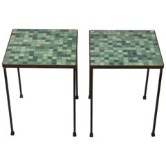 1950s Pair of Black Wrought Iron and Green Terrazzo Tile Tables