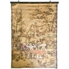 Mid-Century French Aubusson Style Hanging Wall Tapestry -Signed