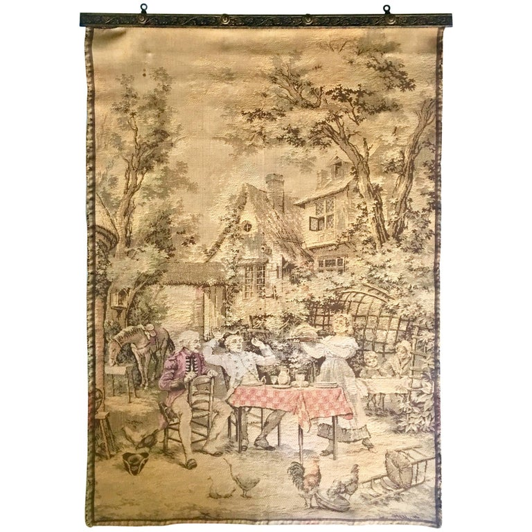 Mid-Century French Aubusson Style Hanging Wall Tapestry -Signed For ...