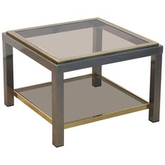 Italian Square Low Table of Brass, Chrome, and Smoked Glass by Zevi