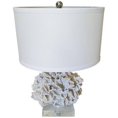 Contemporary Faux Coral Lamp with Lucite Base