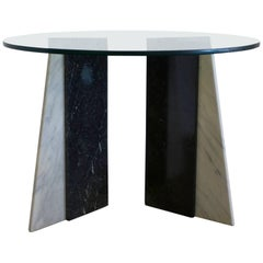 Black and White Marble Italian Round Table with Glass Top