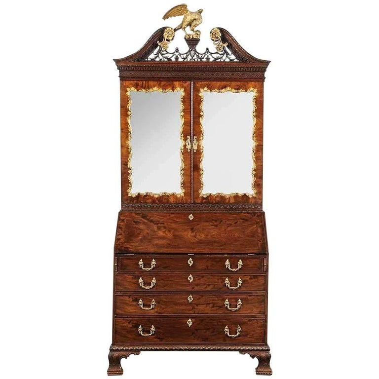 Period Chippendale Figured Mahogany Secretary Bookcase, circa 1765 For Sale