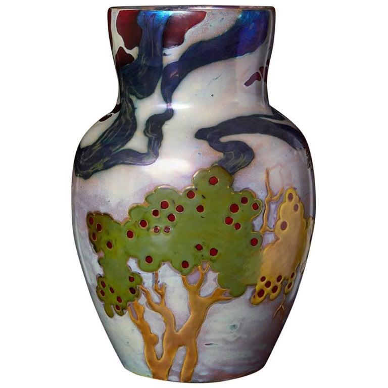 Hungarian Ceramic Eosin Glaze Vase, Landscape with Hawk by Zsolnay, circa 1900 For Sale