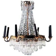 French Gilt Bronze Six-Arm Crystal Chandelier with Four Hidden Interior Lights