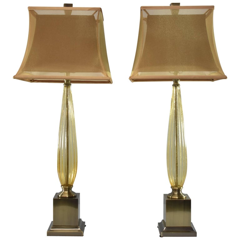 Pair Of Antiqued Brass And Amber Glass Table Lamps By John Richard