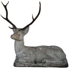 Vintage French Garden Deer with Antlers
