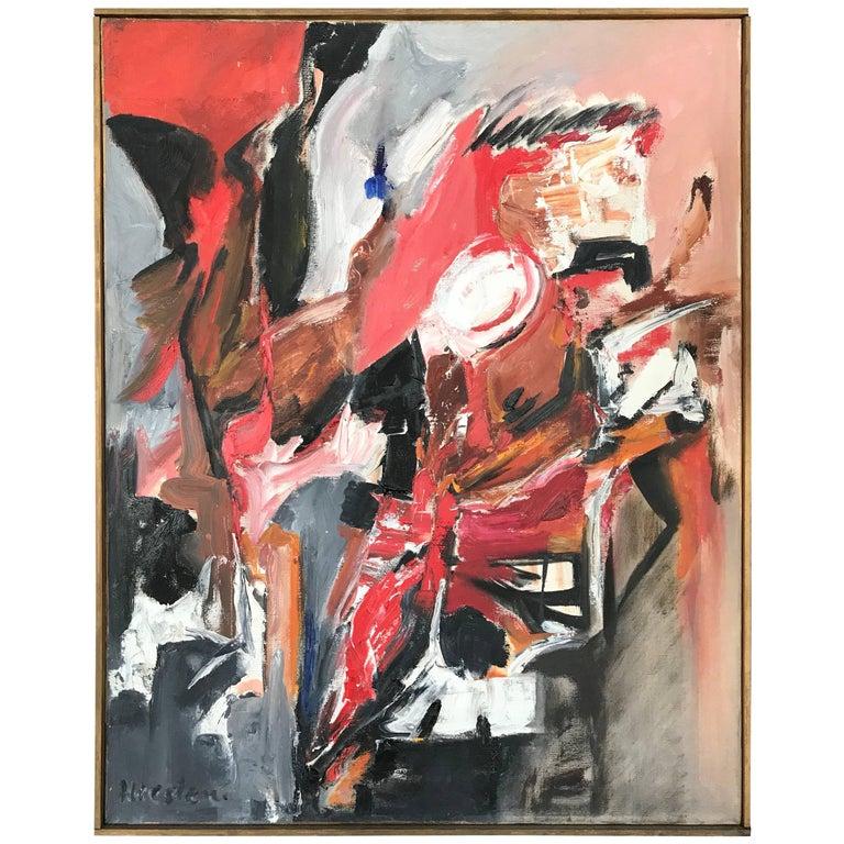 Mid-Century Modern Original Abstract Painting by Heistem