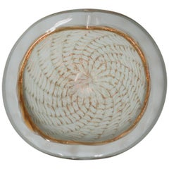 Italian White and Gold Murano Art Glass Bowl