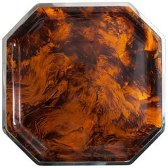 Large Faux Tortoiseshell Tray with Chrome Edging Attributed to Christian Dior