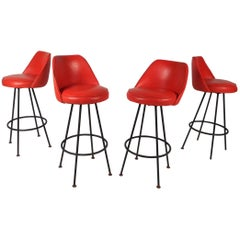Set of Four Mid-Century Modern Bar Stools by Admiral Chrome Corporation