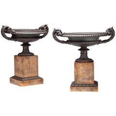 Pair of Bronze Tazza on Sienna Marble Bases