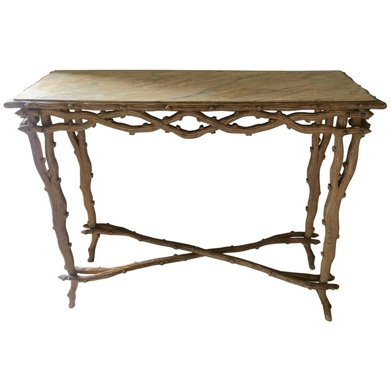 Faux Boi Console Table with Faux Marble Top