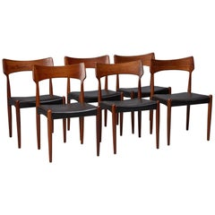 Set of Six Rosewood and Black Leather Dining Chairs by Christian Linneberg