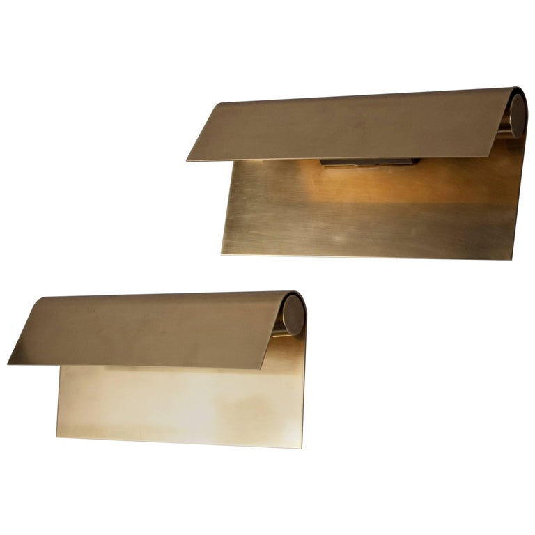Pair of Polished Brass Sconces by Christophe Gevers, Belgium, circa 1975 1