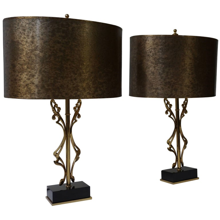Two Brass Table Lamps For Sale