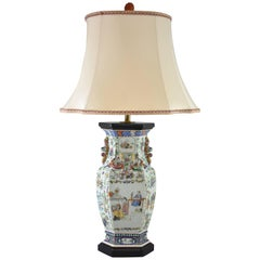 19th Century Chinese Famille Rose Medallion Table Lamp with Quartz Finial