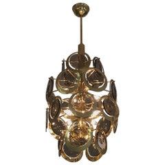 Vistosi Brass and Murano Glass Chandelier, circa 1970s