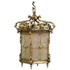 19th Century French Bronze Lantern with Roman Faces and Dolphins Mounts