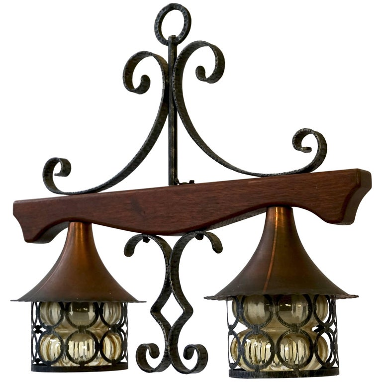 Copper and Wooden Pendant Light For Sale