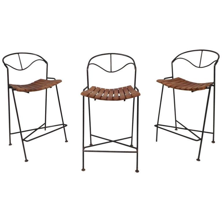 Amazing Set of Three Wrought Iron Bar Stools by Arthur Umanoff