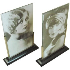 Pair of English Art Deco Chrome & Bevelled Glass Asymmetrical Bookmatched Frames