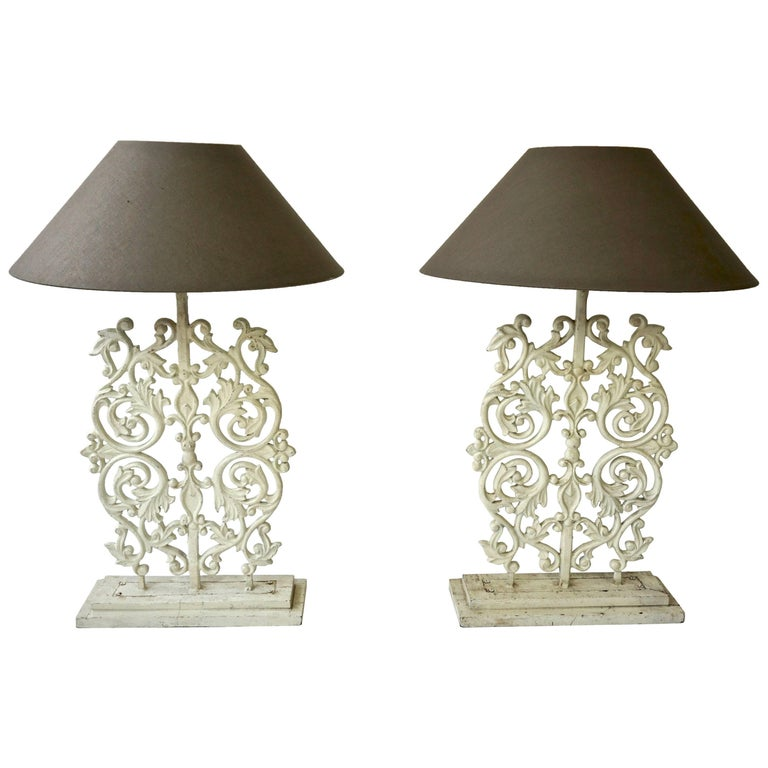 Two Cast Iron Painted Table Lamps For Sale