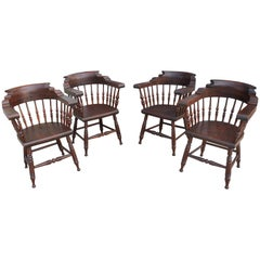 Four 19th Century Windsor Captains Chairs from Maine