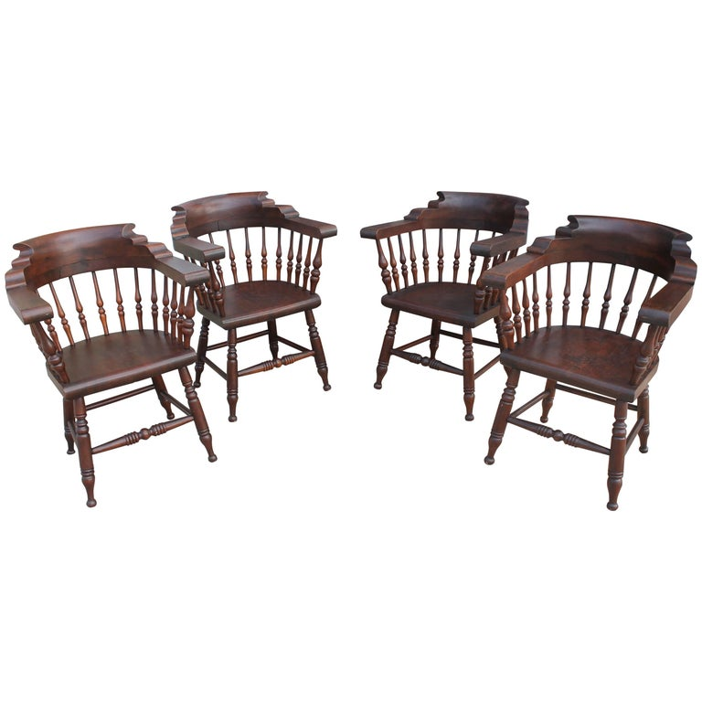 Four 19th Century Windsor Captains Chairs from Maine 1