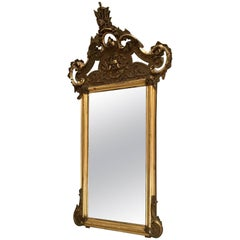 19th Century Rococo Style Mirror with Marble Console and Brass Brackets