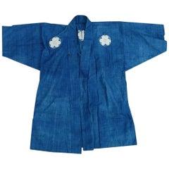 "Japanese Fine Antique Samurai Indigo Dyed ""Haori"" Jacket, Immediately Frameable"