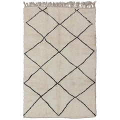 Contemporary/Modern Moroccan Rug Vintage with Brown and Ivory Diamond Pattern