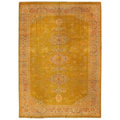 Acid Yellow Floral Design Antique Turkish Oushak Rug with Three Medallions