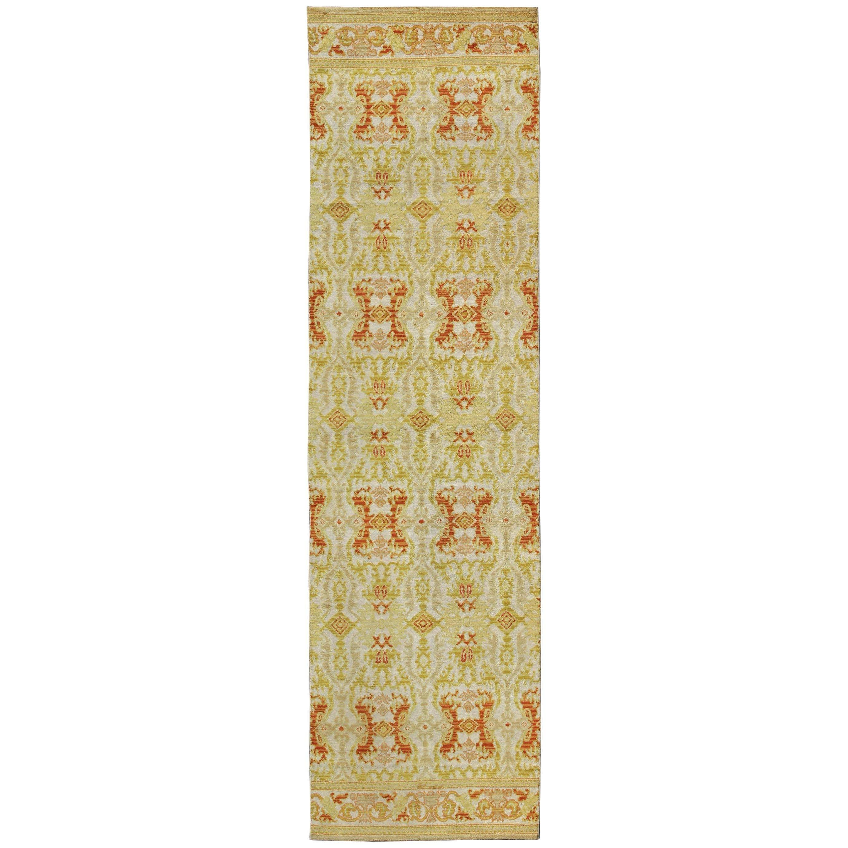 Green, Yellow, Orange Antique Spanish Runner Feat in Atlanta Homes and Lifestyle