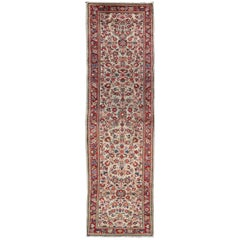 Antique Persian Sarouk Rug with All-Over Floral Design in Rich Red and Ivory