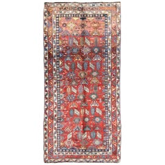 Antique Qashqai Persian Rug with All-Over Sub-Geometric Design and Tiered Border