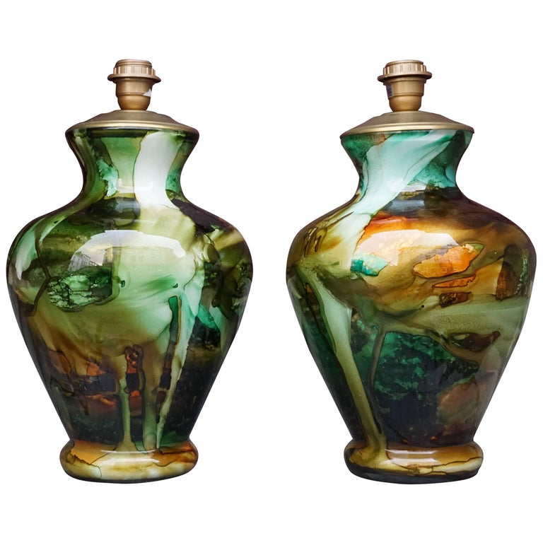 Set of Two Glass Table Lamps