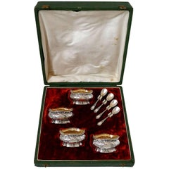 Coignet French Sterling Silver 18-Karat Gold Four Salt Cellars, Spoons and Box