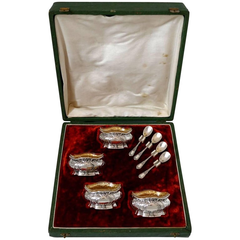Coignet French Sterling Silver 18-Karat Gold Four Salt Cellars, Spoons and Box For Sale