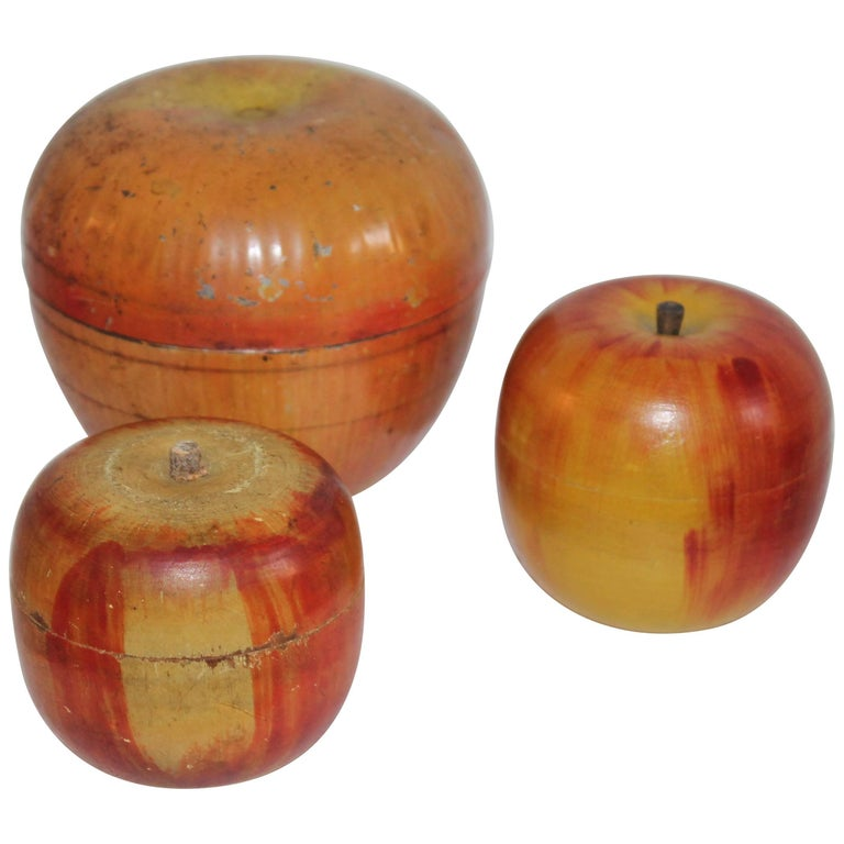 Three Folk Art Apple Collection For Sale