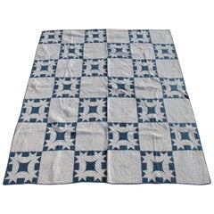19th Century Quilt Blue and White Geometric