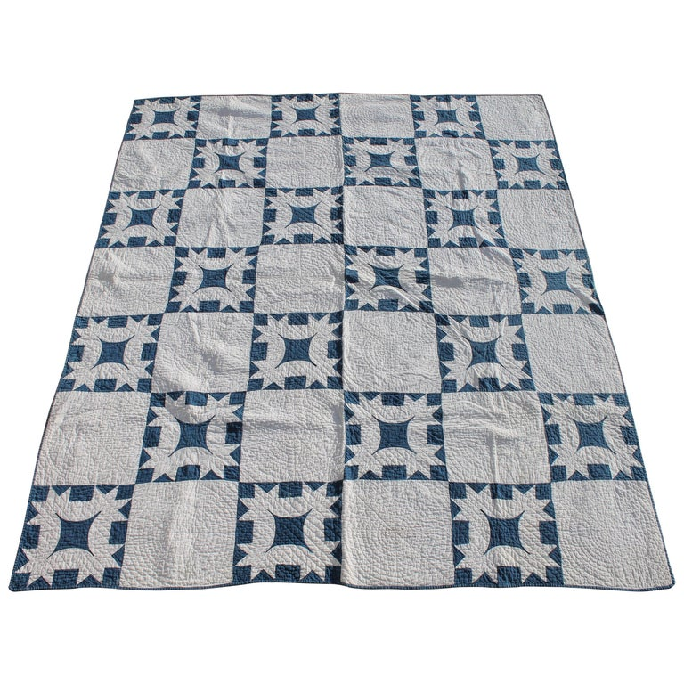 19th Century Quilt Blue and White Geometric 1