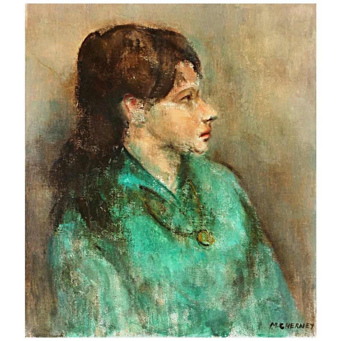 Girl in Profile, Framed