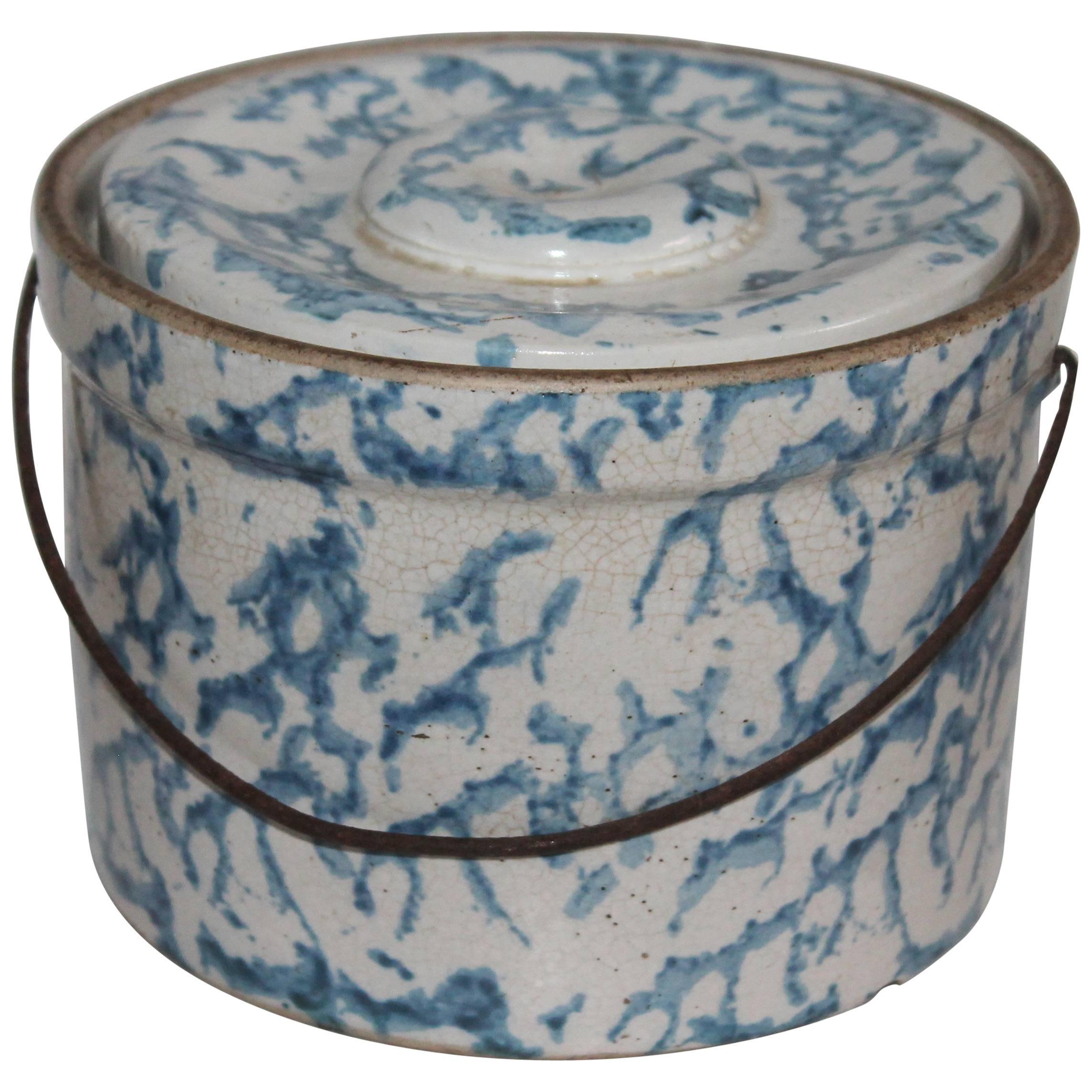19th Century Spongeware Salt Crock with Bail Handle