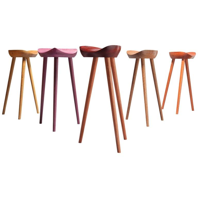 Three-Legged Stools in Tropical Brazilian Hardwood, Contemporary Design