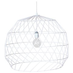 Contemporary Wire Array Pendant in White by Bend Goods