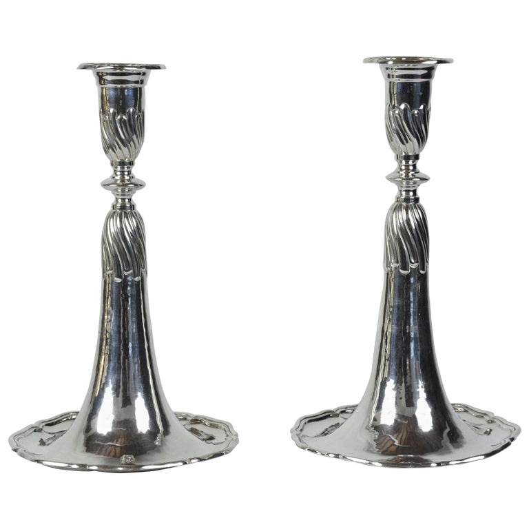 Pair of Sterling Silver Trumpet-style Candle Holders