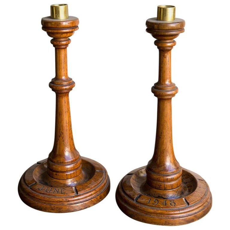 Pair of post war turned wooden arts and crafts oak for Wooden candlesticks for crafts