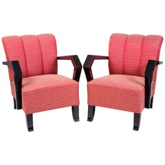 Pair of Cubist Art Deco Armchairs